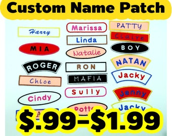 Custom Name Patch, Name Tag, Custom Text with Border, High Quality with Iron on Ready