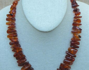 Vintage Baltic Amber Graduated Nuggets with Gold Filled Round Beads Necklace