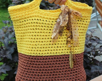 Knitted bag Decorated. Bright yellow design