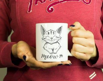 Meow Cat Lover Mug, Coffee Mug Funny Inspirational Love Quote Coffee Cup D508