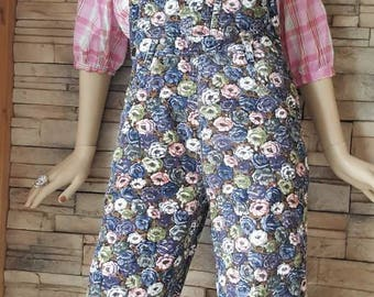 Floral corduroy overall ,vintage jumpsuit, ankle length romper