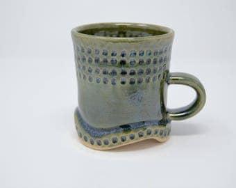 Ceramic Mug, Handmade Mug, Unique Mug, Green Mug, Textured Mug, Pottery Mug, Stoneware Mug, Coffee Mug, Tea Mug, Cup, Handmade Cup,Green Cup
