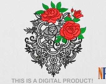 INSTANT DOWNLOAD - Roses with lace machine embroidery design. Flower embroidery. Plants embroidery. Embroidery file