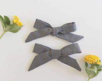 Gray Schoolgirl Bow