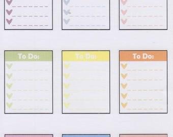 To Do Heart Check List   3045   Planner Stickers   Kikki-K   Happy Planner   Erin Condren