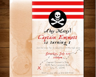 Pirate Birthday Party Invitation *DIGITAL FILE*