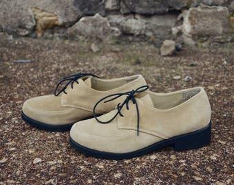 90s Newport News Suede Oxfords, Black Sole Laced Shoes, Sz 7.5