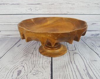 Vintage Footed Wood Serving Platter Snack Cookie Cake Stand Industrial Farmhouse Decor Tray Hand Carved