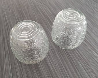 Vintage Pair of Art Deco Swirl Pattern Ceiling Light Lampshades / Clear Glass Decorative Light Fixture Lamp Shade / Home Decor Lighting