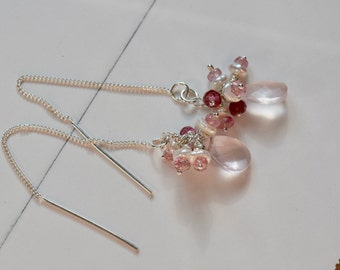 Rose Quartz, Pink Tourmaline and Pearl Earrings~ Handmade Threading Earrings~Rose Quartz Jewelry~ Mother's Day Gift Idea~
