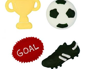 Assorted Handmade Football Soccer Sugar Decorations - Cupcake, Cake, Cookie Sugar Decorations. Edible Cake Toppers. Pack of 12.