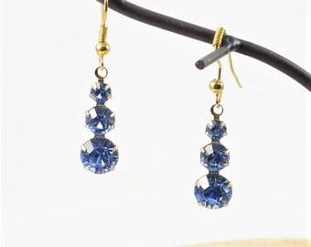Blue Crystal Earrings Blue Earrings Sparkle Earrings Shiny Earrings Girlfriend Gift Women Gift Christmas Gifts Rhinestone Earrings Diamond