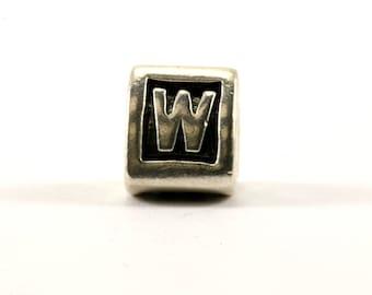 "Vintage Pandora Alphabet Initial ""W"" Charm Block Bead For European Bracelet Sterling Silver CH 90-E"