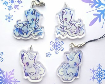 Alolan Vulpix and Ninetales Double Sided Acrylic Charm