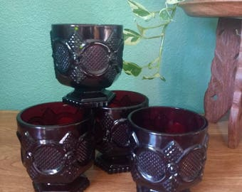 Rich ruby red vintage glasses