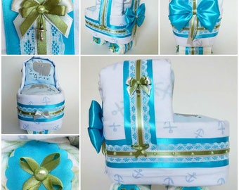 Blue, green n white baby boy diapers cake stroller
