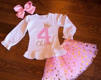 4th birthday long sleeve outfit, ANY age, ANY name birthday shirt crown and polka dot tutu, fourth birthday winter princess girl