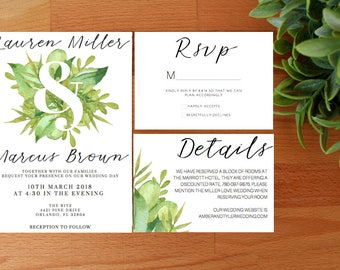 PRINTED greenery Wedding Invitations, Spring Wedding invitations, Summer Wedding Invitation, Greenery Wedding
