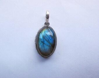 Labradorite brass pendant / pendant in brass with natural Labradorite gemstone
