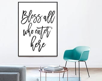 Bless all who enter here - typographic print, bible verse, bless this home, printable wall art, Girl Room Decor, Typography, christian art