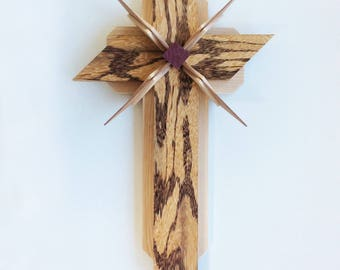 Wooden Cross using Marble Wood, Ash and Purple Heart Woods