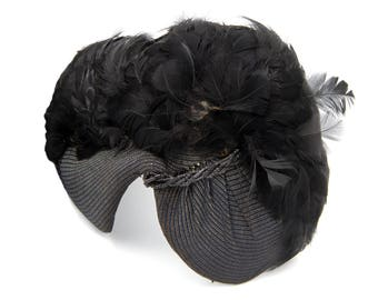 Antique 1930s Flapper Hat, Black Feather Hat, Great Gatsby Charleston Accessories, Fascinator Cap, Structured Head Piece, Halloween Costumes