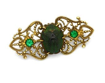 Green Beetle Brooch, Scarab and Gold Pin, Art Deco Brooch, Tortoise Beetle Pin, Yellow Gold Filigree Pin, Antique 1920 Scarab Animal Jewelry