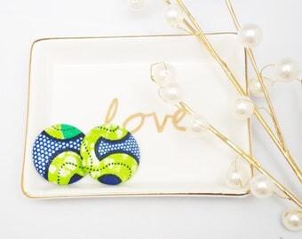Tamale African print stud earrings, Ankara print earrings, green and blue, African print button earrings