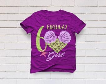 Mermaid svg, 6th svg, 6th birthday svg, Birthday svg, Six birthday svg, Mermaid party, Birthday girl, Cricut, Cameo, Svg, DXF, Png, Pdf, Eps