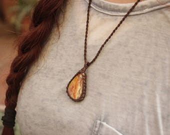 Agate Crazy Lace Pendant. Handmade