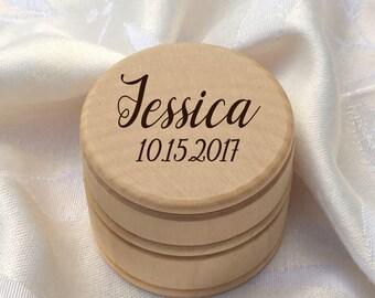 custom design ring box / personalized cursive pin box / wood name container / bride keepsake box / engraved wood box / college keepsake box