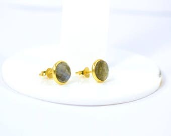 Labradorite Round studs , tiny studs , gold plating studs, gemstone stud,  Labradorite jewelry ,grey color stud,Christmas gift