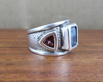 925 Sterling Silver Blue Topaz and Glass Ring - Size 6.75 - Vintage