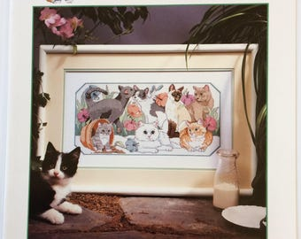 Vintage Dimensions Cross Stitch Chart - Purrfect Garden by Eileen Hayes - cat cross stitch