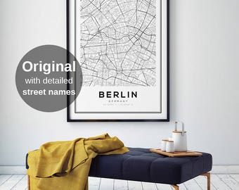 Berlin Map Print, Berlin City Map, Berlin Map Poster, Berlin, Black and White Map, Germany, Germany Print, Berlin Karte, Modern Minimalist