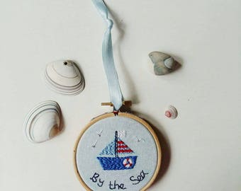 By The Sea, Boat Hoop Art | Hand Embroidered | Modern Embroidery | Wall Art | Home Decor | Gift