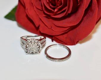 Estate Vintage Sterling Silver Diamond Wedding Ring Set, Bridal Wedding Ring Set, Vintage Engagement Ring, Silver Diamond Ring Set