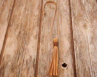 Copper necklace, earth tones necklace, brown necklace, Simple chain, tassel necklace, brown Leather necklace, simple leather chain