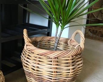 Vintage wood wicker basket