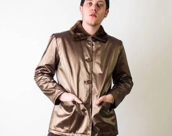 Metallic 90's Jacket with Fur Collar