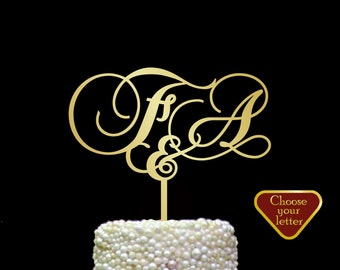 Letter f Customized wedding cake topper, initial cake topper for wedding, custom personalized wedding cake topper, Mr and Mrs topper, CT#145
