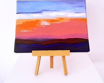 Original Oil Painting Sunset Painting Small Painting with Easel Unique Gift Bright Picture on Canvas 18*24cm by Maria Bukharova
