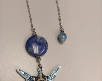 Healing Angel with sodalite crystal; Rearview Mirror accessory, Car Charm, Ornament, Pendulum