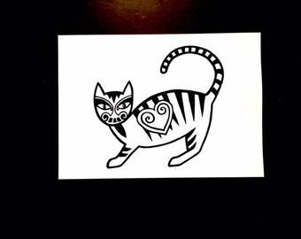 Tribal Cat, A4. Art Print