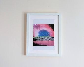Collage print. Space Lake.