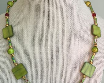"""Upcycled Jewelry- """"Florence""""  Beaded Necklace - Made with Vintage/ Recycled Materials"""