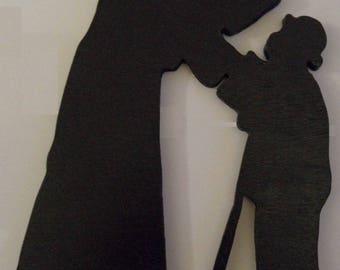 Meet, silhouette wood wall hanging