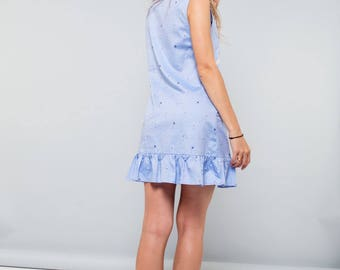 Blue cotton dress with palm embroidery and pockets