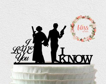 Star Wars Cake Topper. Han and Leia Cake Topper. I Love You, I Know Cake Topper. Personalized Cake Topper. Custom Wedding Cake Topper.