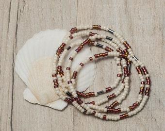 Boho seed bead wrap bracelet, boho bead necklace
